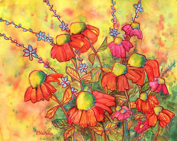 Coneflower Painting - Mimosa Sky Flowers by Blenda Studio