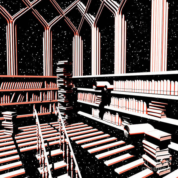 Digital Art - Mind Library Glowing by Russell Kightley
