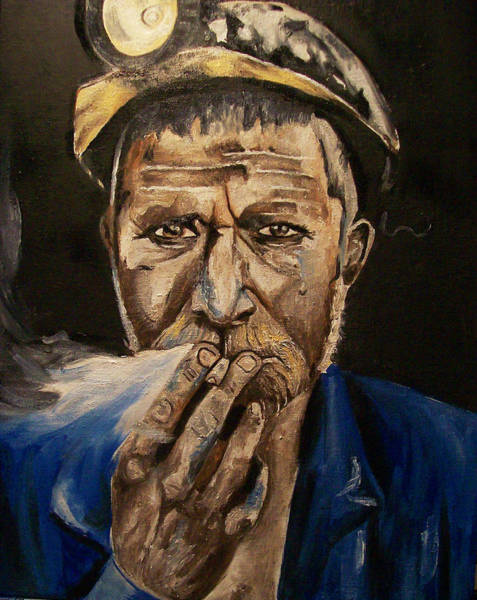 Coals Wall Art - Painting - Miner Man by Mikayla Ziegler