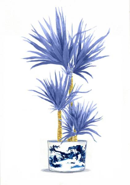 Ming Tree Painting - Ming Vase Blue With Palm by Green Palace