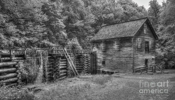 Mingus Mill Photograph - Mingus Mill Black And White Mingus Creek Great Smoky Mountains Art by Reid Callaway