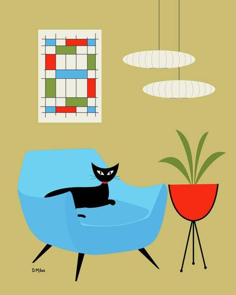 Tan Cat Wall Art - Digital Art - Mini Abstract With Turquoise Chair by Donna Mibus