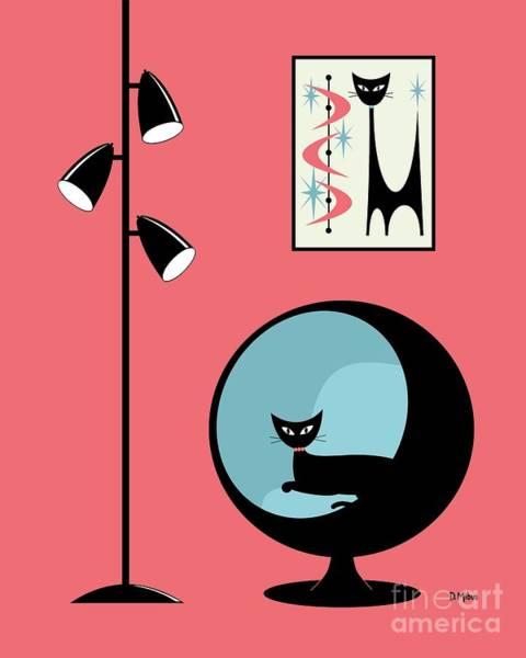 Digital Art - Mini Atomic Cat On Pink by Donna Mibus