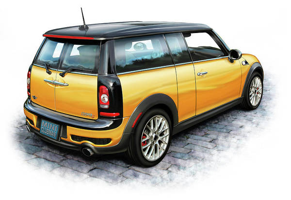 Mini Cooper Wall Art - Digital Art - Mini Cooper Clubman Yellow by David Kyte