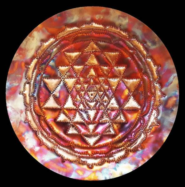 Sculpture - Mini Sri Yantra Kupfer Lichtmandala  by Robert Thalmeier