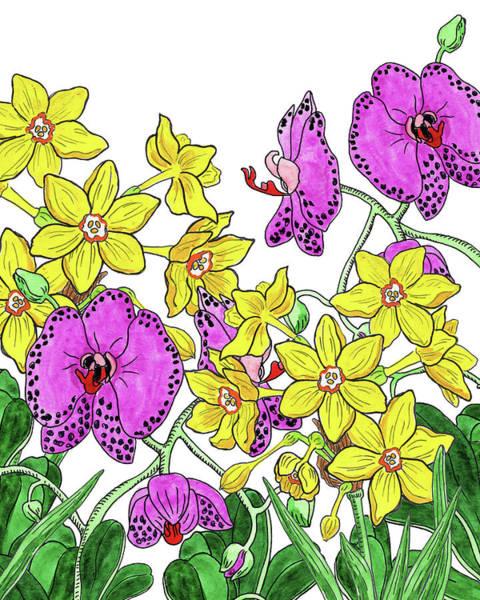 Painting - Miniature Daffodils And Orchids Watercolor by Irina Sztukowski