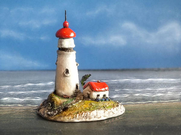 Polymer Clay Photograph - Miniature Lighthouse by Wendy McKennon