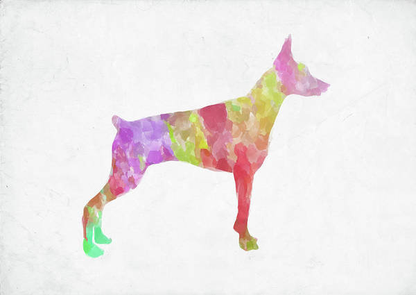 Doberman Wall Art - Digital Art - Minimal Abstract Dog Watercolor by Ricky Barnard