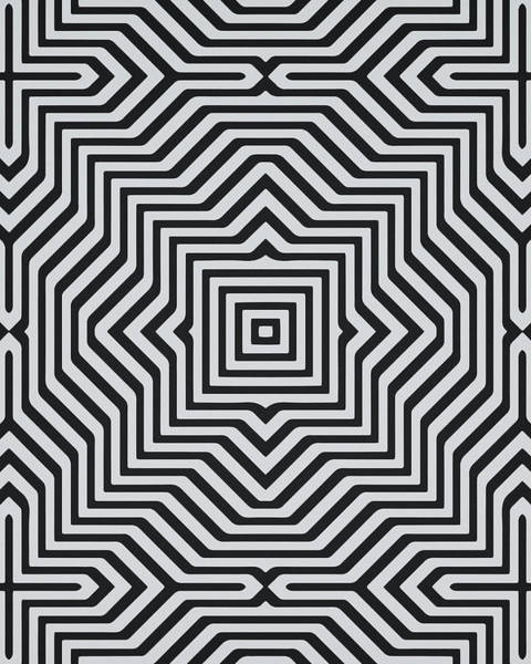 Symmetrical Digital Art - Minimal Geometrical Optical Illusion Style Pattern In Black White T-shirt  by Philipp Rietz