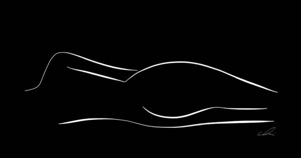 Drawing - Minimal Line Drawing Of A Lying Down Nude Woman - Black And White by Marianna Mills