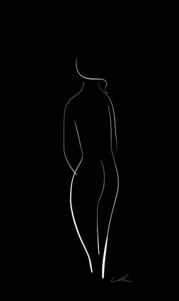 Drawing - Minimal Line Drawing Of A Nude Woman - Black And White by Marianna Mills