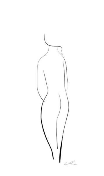 Drawing - Minimal Line Drawing Of A Nude Woman by Marianna Mills