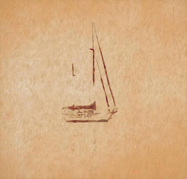 Wall Art - Digital Art - Minimalism Sailboat by Dan Sproul