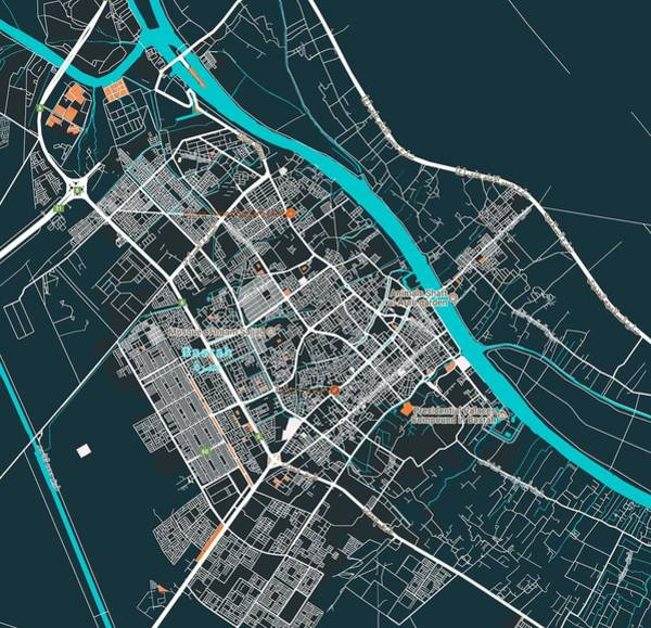 Painting - Minimalist Modern Map Of Basrah, Iraq 2 by Celestial Images