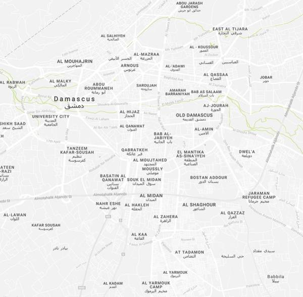 Wall Art - Painting - Minimalist Modern Map Of Downtown Damascus, Syria 2 by Celestial Images