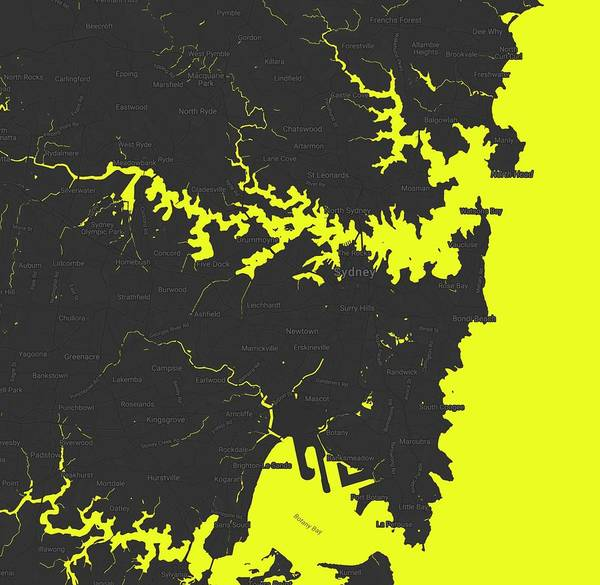 Painting - Minimalist Modern Map Of Sydney, Australia 9 by Celestial Images