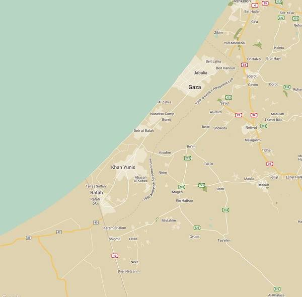 Painting - Minimalist Modern Map Of The Gaza Strip Gaza Palestinian Territory by Celestial Images
