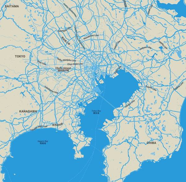 Painting - Minimalist Modern Map Of Tokyo, Japan by Celestial Images