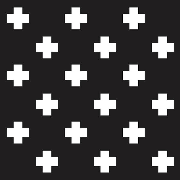Cross Mixed Media - Minimalist Swiss Cross Pattern - Black, White 01 by Studio Grafiikka