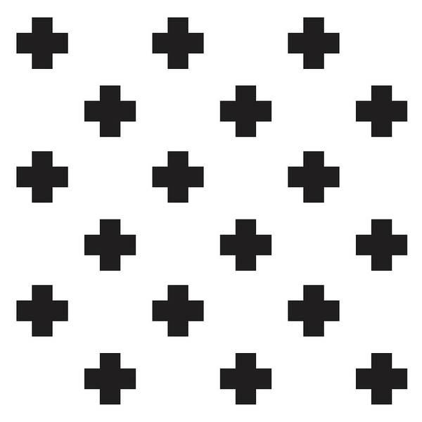 Cross Mixed Media - Minimalist Swiss Cross Pattern - Black, White 02 by Studio Grafiikka