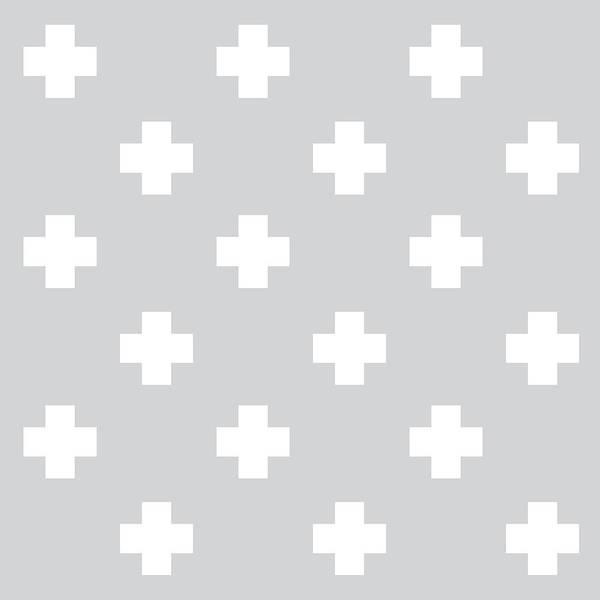 Cross Mixed Media - Minimalist Swiss Cross Pattern - Grey, White 01 by Studio Grafiikka