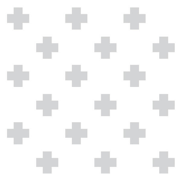 Cross Mixed Media - Minimalist Swiss Cross Pattern - Grey, White 02 by Studio Grafiikka