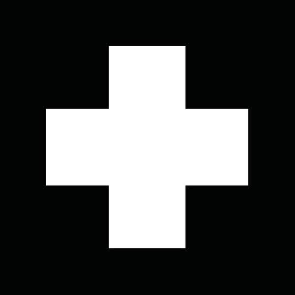 Cross Mixed Media - Minimalist Swiss Cross Pattern - White On Black by Studio Grafiikka