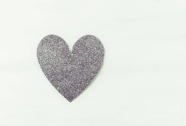 Minimalistic Silver Glitter Heart Art Print