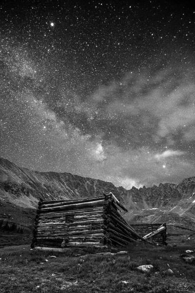 Photograph - Minin Ruins And Milky Way Black And White by Aaron Spong