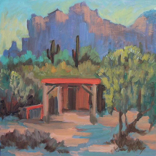 Camp Painting - Mining Camp At Superstition Mountain Museum by Diane McClary