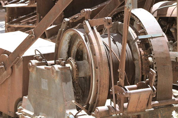 Photograph - Mining Equipment And Cables In Sepia by Colleen Cornelius