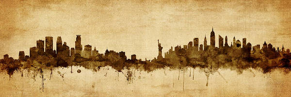 Wall Art - Digital Art - Minneapolis And New York Skyline Mashup by Michael Tompsett