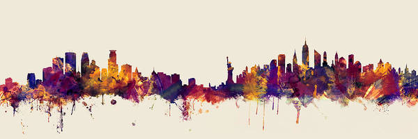 Wall Art - Digital Art - Minneapolis And New York Skylines Mashup by Michael Tompsett