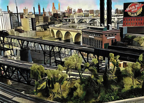 Model Trains Painting - Minneapolis By Rail by Tim Nyberg