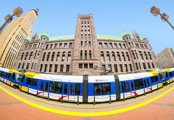 Twin Cities Photograph - Minneapolis City Hall And Blue Line Rail by Jim Hughes