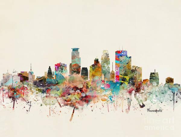 Minneapolis Painting - Minneapolis City Skyline by Bri Buckley