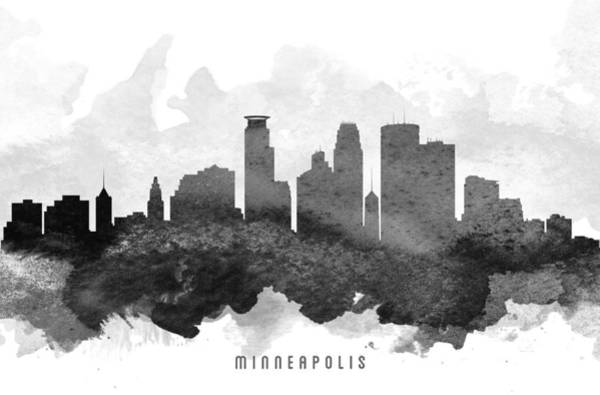 Minneapolis Painting - Minneapolis Cityscape 11 by Aged Pixel
