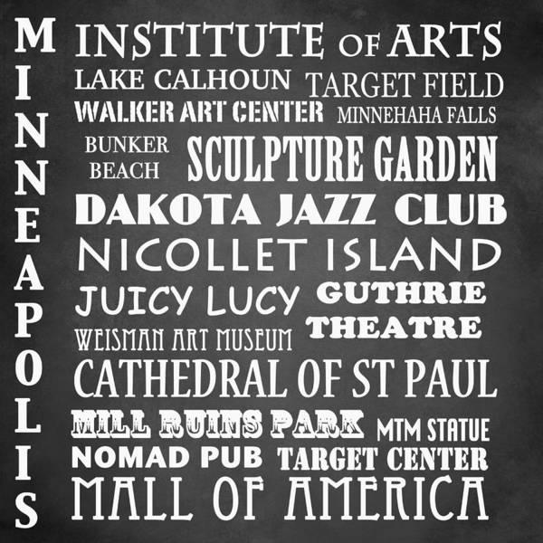 Minneapolis Digital Art - Minneapolis Famous Landmarks by Patricia Lintner