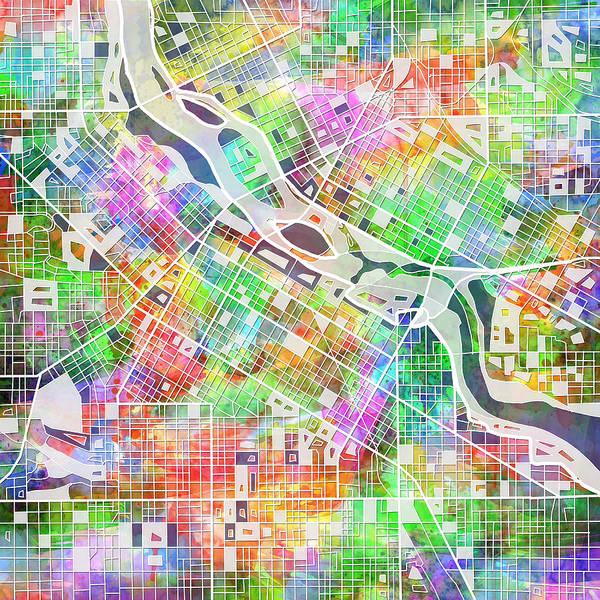Minneapolis Painting - Minneapolis Map 2 by Bekim M