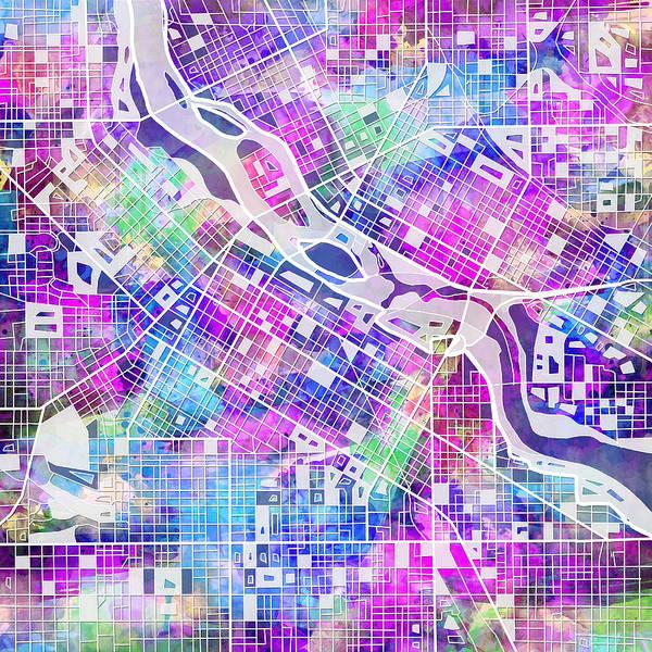 Minneapolis Painting - Minneapolis Map by Bekim M