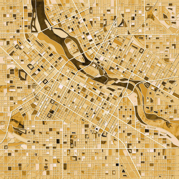Monochromatic Painting - Minneapolis Map Sepia by Bekim Art