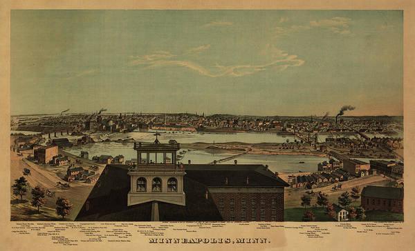 Minneapolis Painting - Minneapolis, Minneapolis by Antique map