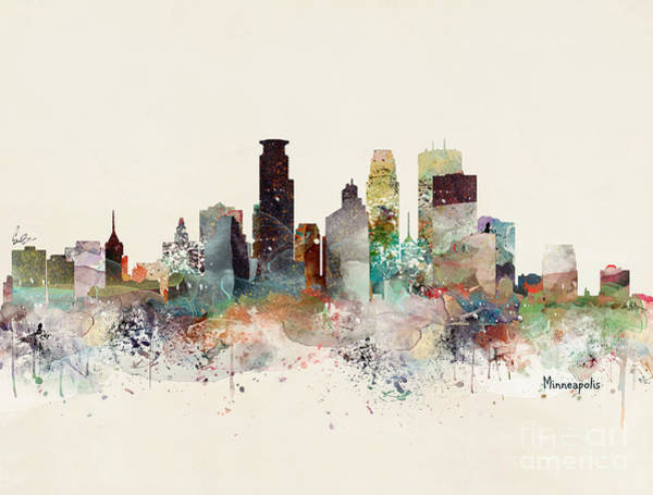 Watercolour Landscape Painting - Minneapolis Minnesota by Bri Buckley