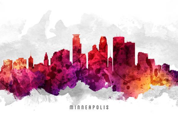Minneapolis Digital Art - Minneapolis Minnesota Cityscape 14 by Aged Pixel