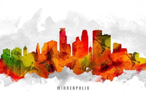 Minneapolis Digital Art - Minneapolis Minnesota Cityscape 15 by Aged Pixel