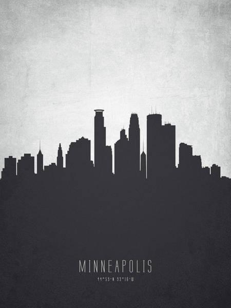 Minneapolis Painting - Minneapolis Minnesota Cityscape 19 by Aged Pixel