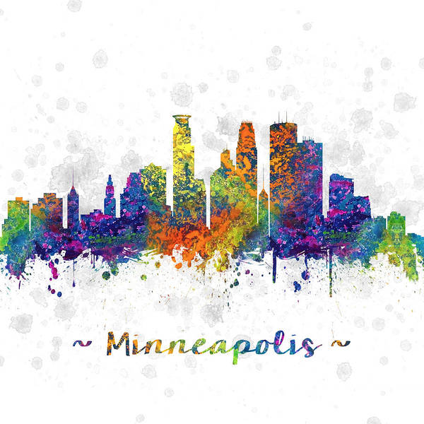 Minneapolis Digital Art - Minneapolis Minnesota Color 03sq by Aged Pixel