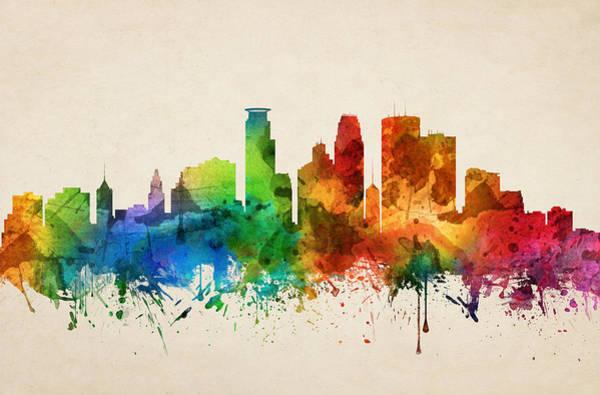 Minneapolis Painting - Minneapolis Minnesota Skyline 05 by Aged Pixel