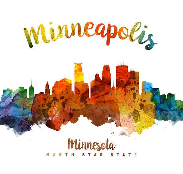 Minneapolis Painting - Minneapolis Minnesota Skyline 26 by Aged Pixel