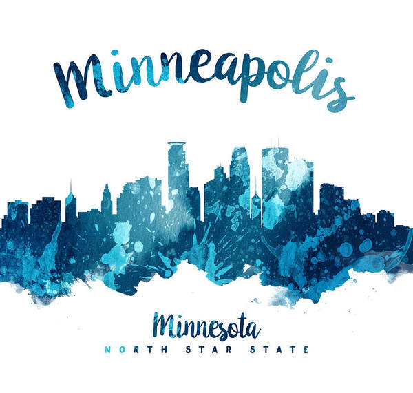 Minneapolis Painting - Minneapolis Minnesota Skyline 27 by Aged Pixel